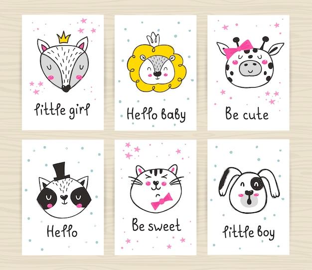 Zestaw plakatów z uroczymi zwierzętami i napisami.