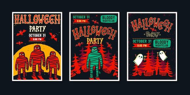 Zestaw plakatów z zaproszeniami na halloween