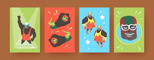 Zestaw plakatów ze sztuką współczesną przedstawiających meksykańskich zapaśników. ilustracja.