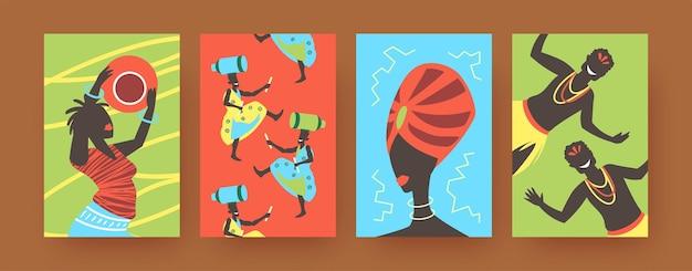 Zestaw plakatów ze sztuką współczesną z afrykańskimi tańcami plemiennymi. ilustracja.