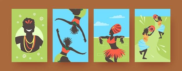 Zestaw plakatów ze sztuką współczesną z afrykańskimi tańczącymi ludźmi. ilustracja.
