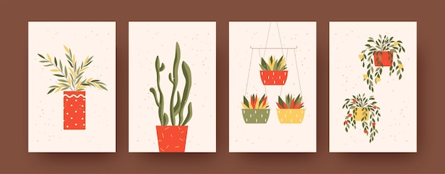 Zestaw plakatów ze sztuką współczesną z motywem roślin. ilustracja wektorowa. kolekcja roślin z kwiatami w kolorowych doniczkach