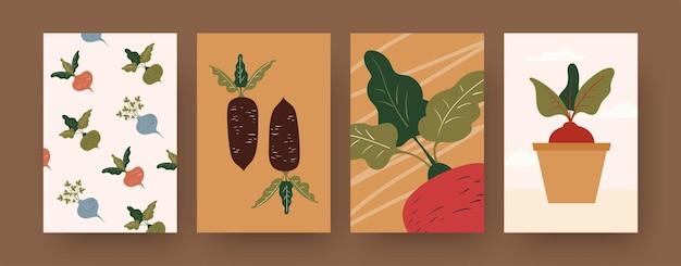 Zestaw plakatów ze sztuką współczesną z warzywami korzeniowymi