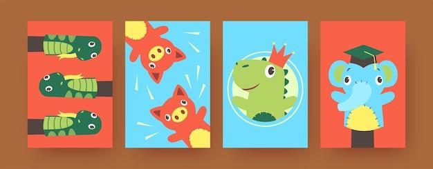 Zestaw plakatów ze sztuką współczesną z zabawnymi zabawkami do łapek