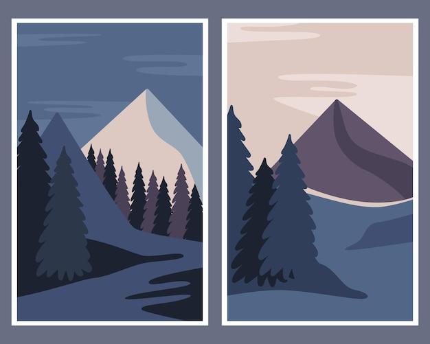 Zestaw plakatów. zimowy krajobraz, góry, drzewa. streszczenie ilustracji.