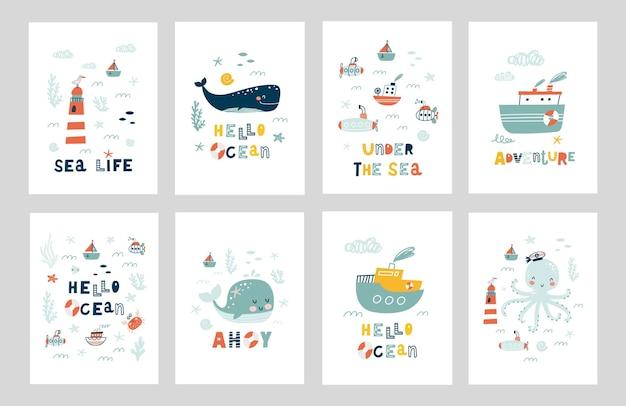 Zestaw plakatów zwierząt morskich.