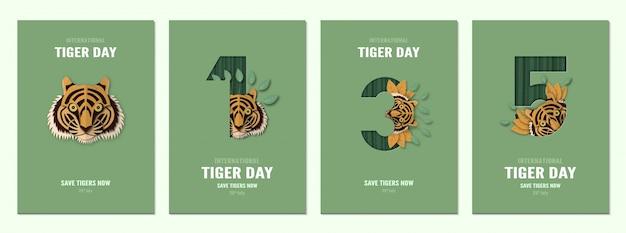 Zestaw plakatu na międzynarodowy dzień tygrysa, 29 lipca z numerem.