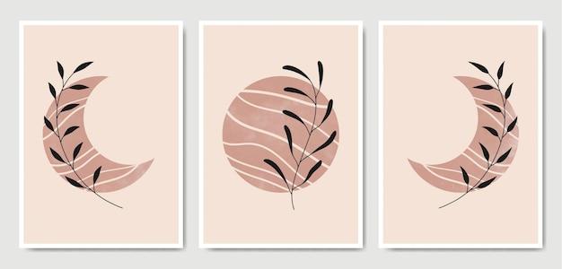 Zestaw plakatu streszczenie kwiatowy liści