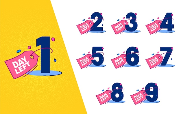 Zestaw plakietek licznikowych z lewej strony dnia. zakupy marketing liczyć transparent na białym tle dla moda wydarzenie biznesowe oferta rabatowa płaska ilustracja wektorowa