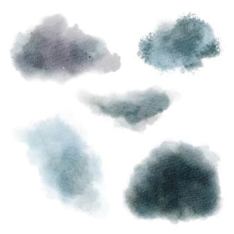 Zestaw plam akwarela, niebieskawe brudne odcienie, ręcznie rysowane akwarela.
