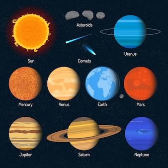 Zestaw planet układu słonecznego. elementy i ikony projektowania kosmosu.
