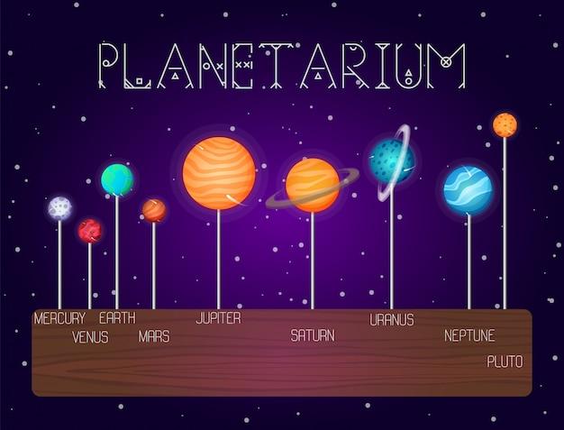 Zestaw planet układu słonecznego ustawionych w linii w stylu kreskówki.