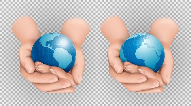 Zestaw planety ziemi w złożone dłonie widok różnych kontynentów ameryka eurazja afryka