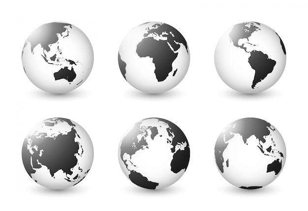 Zestaw planety ziemi. zestaw kuli ziemskiej. mapy świata biały czarny przezroczysty przezroczysty.