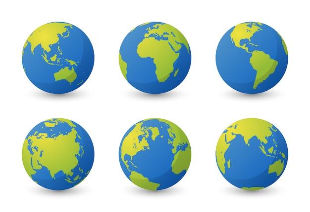 Zestaw planety ziemi. zestaw kuli ziemskiej. płaska konstrukcja mapy świata prosta