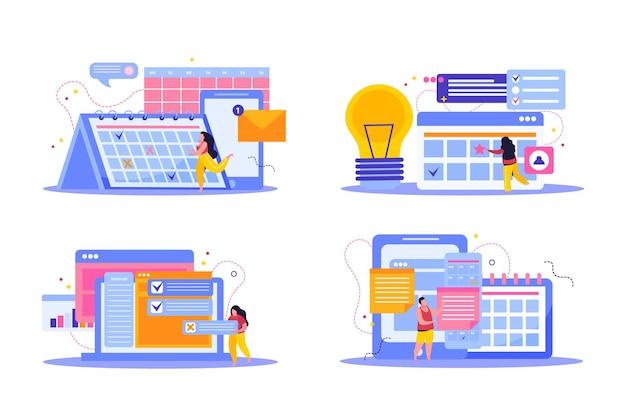 Zestaw planowania i harmonogramowania płaskich kompozycji z ilustracjami gadżetów
