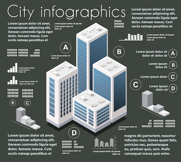 Zestaw plansza branży izometrycznej mapy miasta