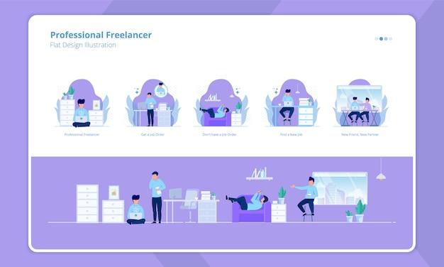 Zestaw płaska konstrukcja z profesjonalnym motywem freelancer