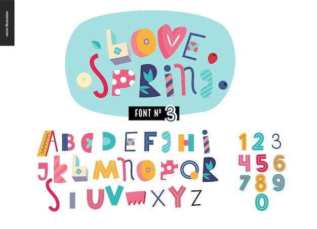 Zestaw płaski alfabet dla dzieci. kochaj wiosnę