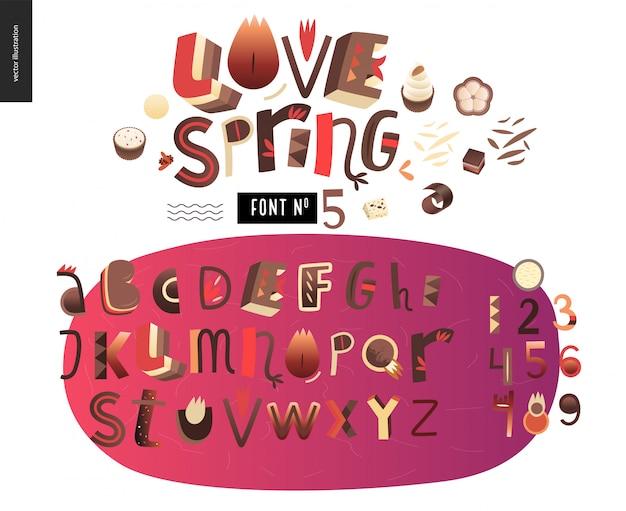 Zestaw płaski alfabet dla dzieci miłość wiosna