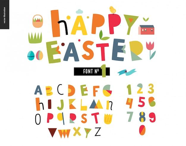 Zestaw płaski alfabet dla dzieci. wesołych świąt wielkanocnych