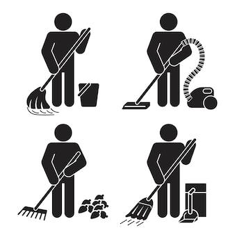 Zestaw płaski czarny kolor usługi sprzątania pracowników człowiek człowiek ikona zestaw prosty element