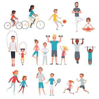 Zestaw płaski fitness ludzi