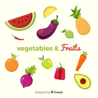 Zestaw płaski kolorowy zdrowej żywności