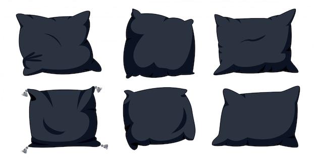 Zestaw płaski kreskówka czarna poduszka. miękka tkanina wnętrza domu. szablon makiety sześć kwadratowych poduszek. ciemna poduszka