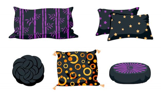 Zestaw płaski kreskówka czarna poduszka. poduszki kwadratowe, węzeł z frędzlami, szablon makiety poduszek pufa. ciemna poduszka