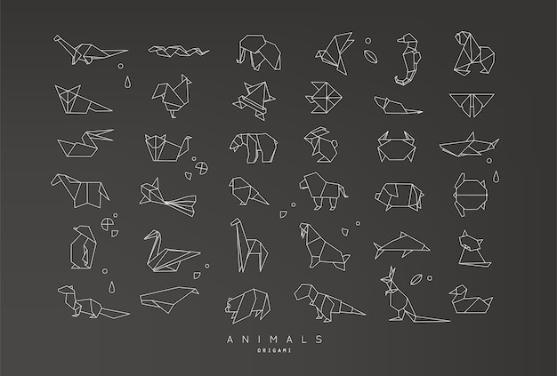 Zestaw płaski origami zwierząt