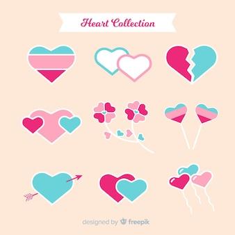 Zestaw płaski serca