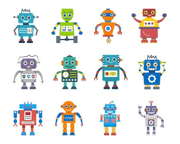 Zestaw płaski styl postaci robota