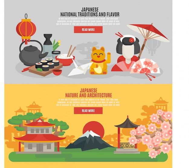 Zestaw płaski transparent japońskiej tradycji