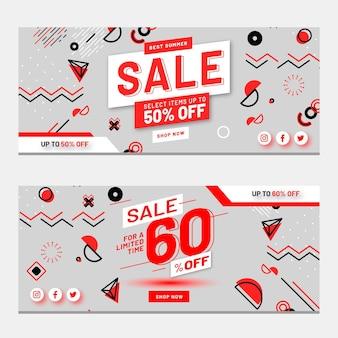 Zestaw płaskich abstrakcyjnych banerów sprzedaży