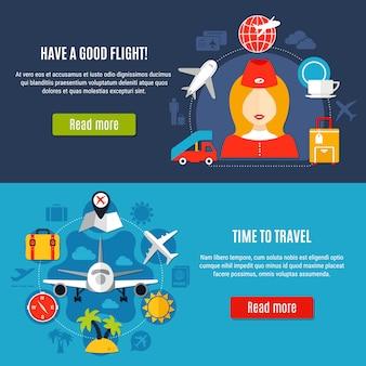 Zestaw płaskich banerów airport online service