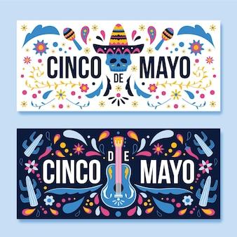Zestaw płaskich banerów cinco de mayo