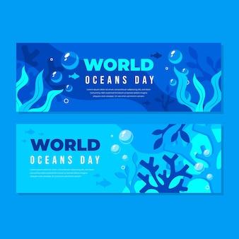 Zestaw płaskich banerów dnia oceanów świata