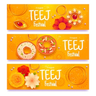 Zestaw płaskich banerów festiwalu teej