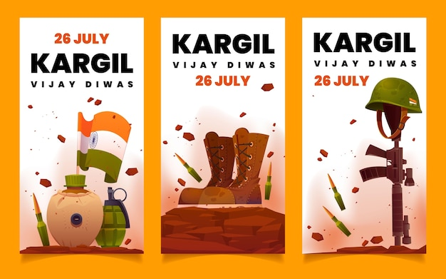 Zestaw płaskich banerów kargil vijay diwas