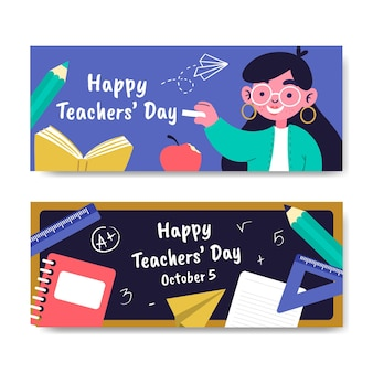 Zestaw płaskich banerów na dzień nauczyciela
