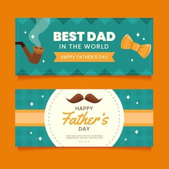 Zestaw płaskich banerów na dzień ojca