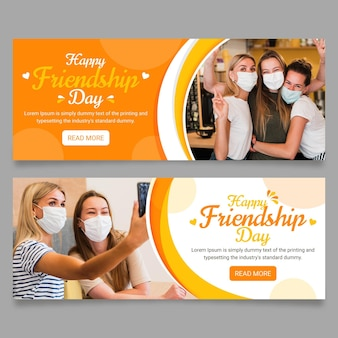 Zestaw płaskich banerów na międzynarodowy dzień przyjaźni