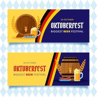Zestaw płaskich banerów oktoberfest