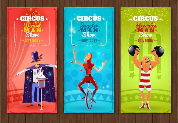 Zestaw płaskich banerów podróżujących cyrkowych