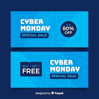 Zestaw płaskich banerów poniedziałek cyber