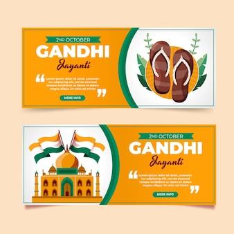 Zestaw płaskich banerów poziomych gandhi jayanti