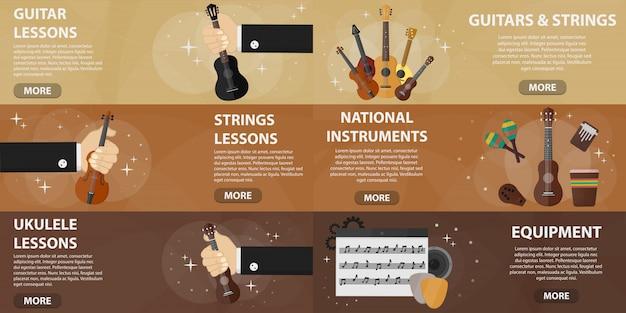 Zestaw płaskich banerów sklepu muzycznego na strony internetowe. koncepcja rynku lekcji gry na gitarze i instrumentów muzycznych. kolekcja muzycznych instrumentów smyczkowych w płaskiej konstrukcji.