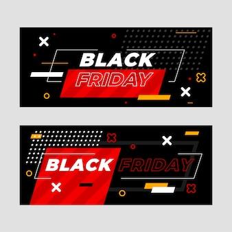 Zestaw płaskich banerów sprzedaży w czarny piątek sprzedaży poziomej