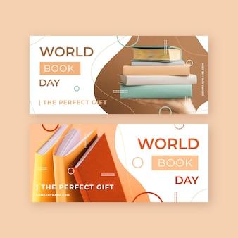 Zestaw płaskich banerów światowego dnia książki
